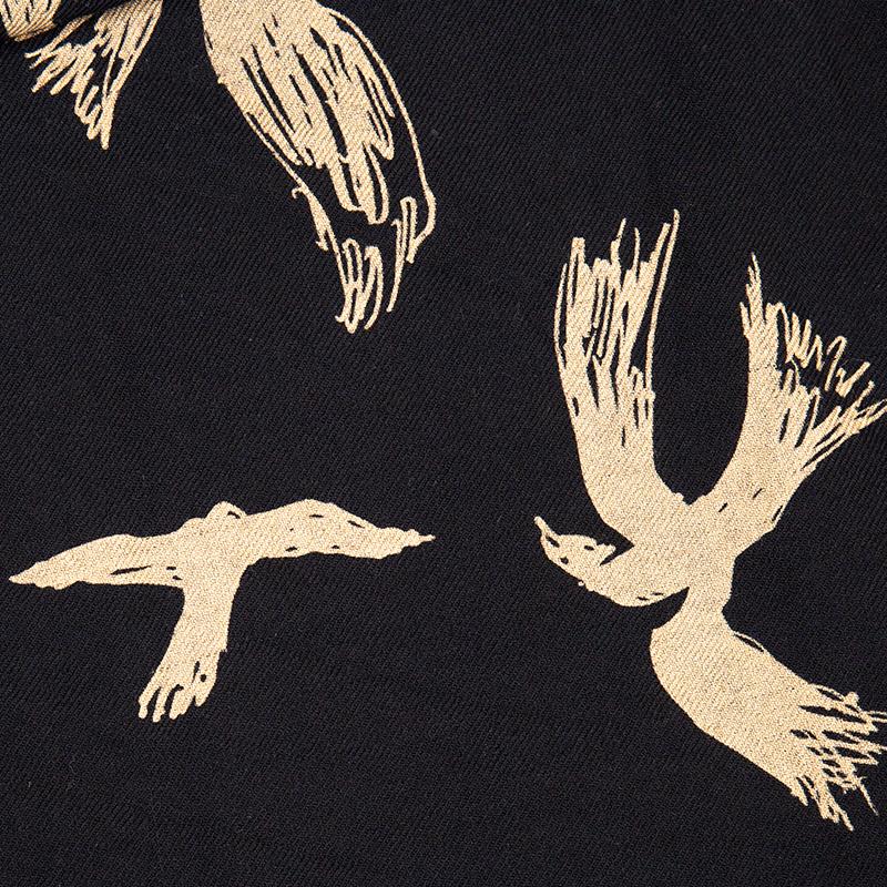 Yohji Yamamoto POUR HOMME ウールバードプリントフリンジストール