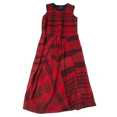 tricot COMME des GARCONS ウールチェック切替ノースリーブワンピース