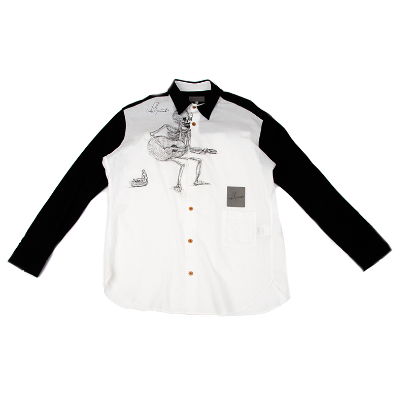 Yohji Yamamoto POUR HOMME 朝倉優佳スカルプリントバイカラーシャツ