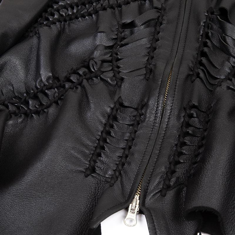 Jean Paul GAULTIER HOMME フロント編み込みデザインラムレザージャケット