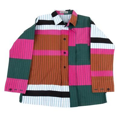 ISSEY MIYAKE カラーパネルストライプシャツ